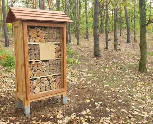 zdjęcie hotelu dla owadów w lesie kompensacja przyrodnicza