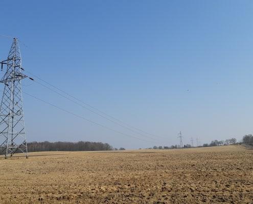 słup i linia elektroenergetyczna na terenach rolnych inwentaryzacja przyrodnicza